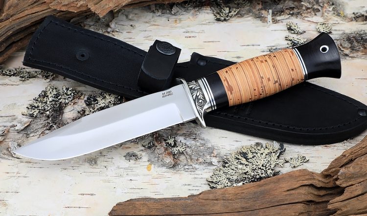 Нож Лидер сталь M390, рукоять береста, мельхиор
